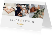 Stijlvolle bedankaart huwelijk - wit met 3 foto's en goud