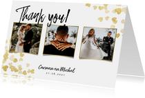 Stijlvolle bedankkaart met gouden hartjes en foto's