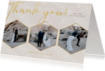 Stijlvolle bedankkaart trouwdag met foto's goudlook naturel