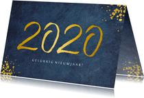 Stijlvolle blauwe zakelijke nieuwjaarskaart jaartal 2020