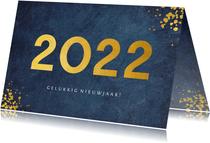 Stijlvolle blauwe zakelijke nieuwjaarskaart jaartal 2022