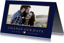 Stijlvolle Change the Date kaart - wijziging trouwdatum
