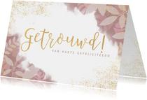 Stijlvolle felicitatiekaart getrouwd planten en waterverf