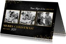 Stijlvolle fotocollage kerstkaart gouden 'merry christmas!'
