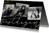 Stijlvolle fotocollage kerstkaart met zwart/wit foto's