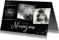 Stijlvolle fotocollage nieuwjaarskaart met zwart/wit foto's