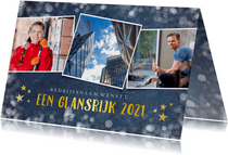 Stijlvolle fotocollage zakelijke kerstkaart met 3 foto's