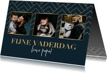Stijlvolle fotokaart fijne vaderdag blauw met gouden patroon