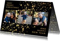 Stijlvolle fotokaart met gouden confetti en typografie
