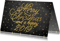 Stijlvolle goudlook typografie kerstkaart met sneeuw