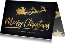 Stijlvolle hippe kerstkaart met gouden kerstman in arrenslee