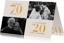 Stijlvolle jubileum uitnodiging met foto's en goudlook