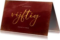 Stijlvolle jubileumkaart vijftig in goudlook op waterverf