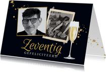 Stijlvolle kaart met foto's, champagneglas in goud en blauw