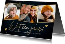 Stijlvolle kerst fotokaart 'Wat een jaar!' sterren & hartjes
