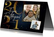 Stijlvolle kerstkaart 2021 goud 2 fotos fijne feestdagen