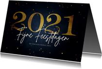 Stijlvolle kerstkaart fijne feestdagen gouden 2021