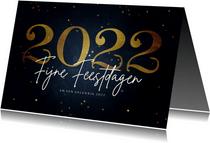 Stijlvolle kerstkaart fijne feestdagen gouden 2022
