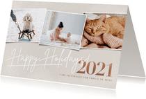 Stijlvolle kerstkaart fotocollage 2021 happy holidays beige