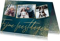 Stijlvolle kerstkaart fotocollage, Fijne feestdagen & sneeuw