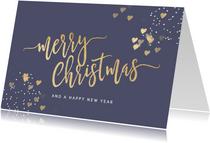 Stijlvolle kerstkaart Merry Christmas paars goud