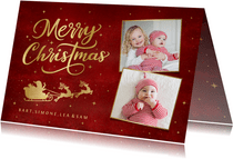 Stijlvolle kerstkaart met 2 eigen foto's en gouden arrenslee