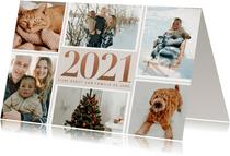 Stijlvolle kerstkaart met fotocollage en 2021 in rosé goud