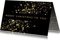 Stijlvolle kerstkaart met gouden spetters en typografie