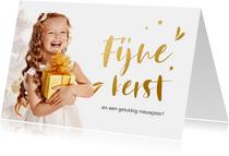 Stijlvolle kerstkaart met goudlook letters en sterretjes