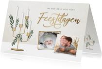 Stijlvolle kerstkaart met kandelaar 4 kaarsen en foto's