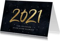 Stijlvolle kerstkaart sterren en jaartal 2021