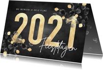 Stijlvolle kerstkaart waterverf eucalyptus, gouden 2021