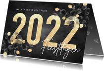 Stijlvolle kerstkaart waterverf eucalyptus, gouden 2022