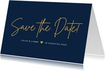 Stijlvolle liggende minimalistische Save the Date kaart