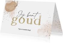 Stijlvolle moederdagkaart met abstracte vormen en goud