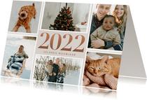 Stijlvolle nieuwjaarskaart bronzen 2022 en fotocollage