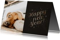 Stijlvolle nieuwjaarskaart foto 'Happy New Year' fonkels