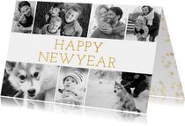 Stijlvolle nieuwjaarskaart met fotocollage en happy new year