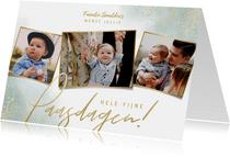Stijlvolle paaskaart fijne paasdagen met 3 grote foto's