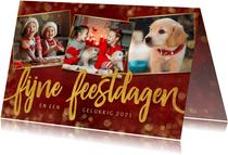 Stijlvolle rode fotocollage kerstkaart met 3 foto's en goud
