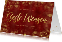 Stijlvolle rode nieuwjaarskaart met goud Beste wensen