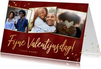 Stijlvolle rode valentijnskaart met fotocollage en goud