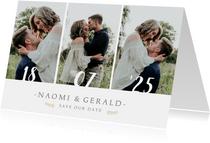 Stijlvolle Save the Date kaart met 3 foto's en trouwdatum