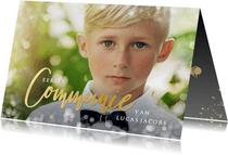 Stijlvolle uitnodiging communie met foto voor een jongen