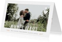 Stijlvolle uitnodiging huwelijk met grote foto en namen