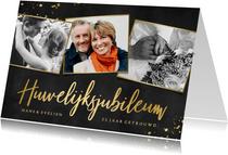 Stijlvolle uitnodiging huwelijksjubileum met 3 foto's