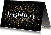 Stijlvolle uitnodiging kerstdiner gouden confetti