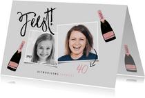 Stijlvolle uitnodiging verjaardag met foto's en champagne