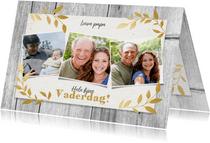 Stijlvolle vaderdag kaart net hout, gouden plantjes & foto's