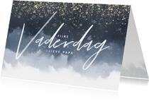 Stijlvolle vaderdagkaart met waterverf en gouden spikkels